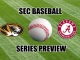 Alabama and Missouri logos with a baseball