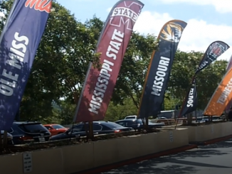 Team flags at outside at SEC Media days