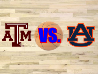 Texas A&M and Auburn logos on wood floor