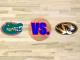Missouri and Florida logo on basketball floor
