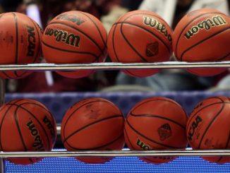 Basketballs on rack