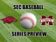 Arkansas and Mississippi State logos with baseball
