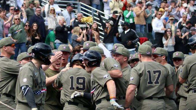 Vanderbilt baseball players celebrate
