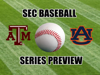 Texas A&M and Auburn logos with baseball