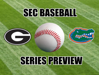 Georgia and Florida logos with baseball