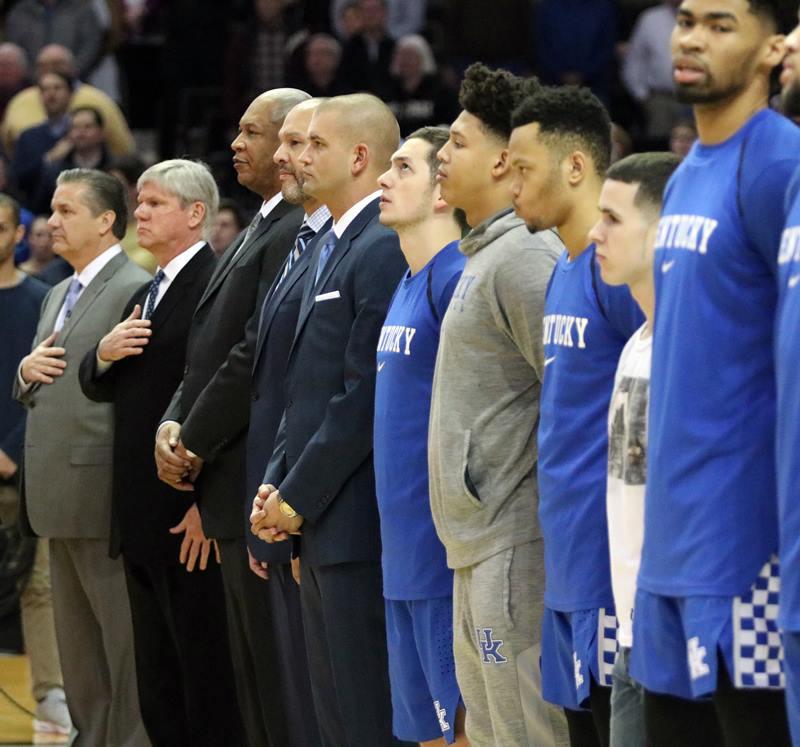 John Calipari, Kentucky players and assistant coaches during national anthem