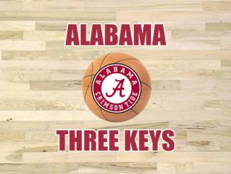 Alabama logo with basketball and three keys