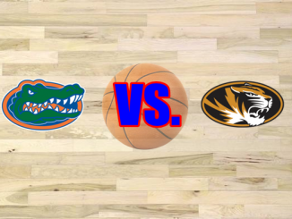 Missouri and Florida logo on basketball floor