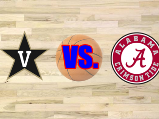 Vanderbilt and Alabama logos on wood floor