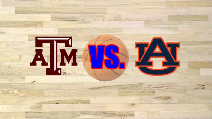 Texas A&M and Auburn logos on wood floor