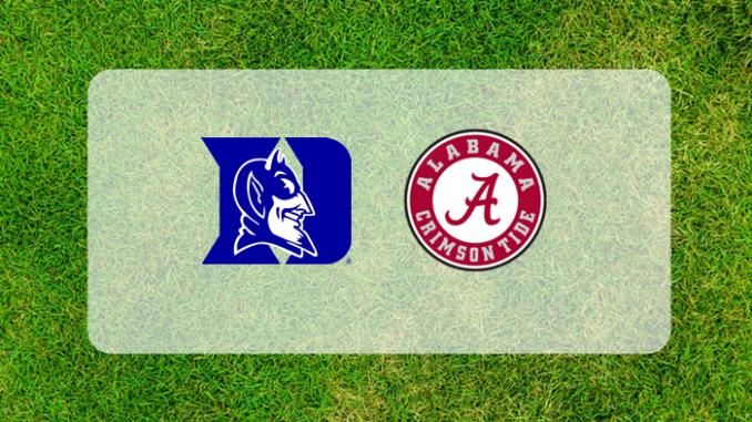 Alabama and Duke logos on grass field