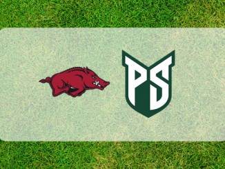 Arkansas and Portland State logos on grass