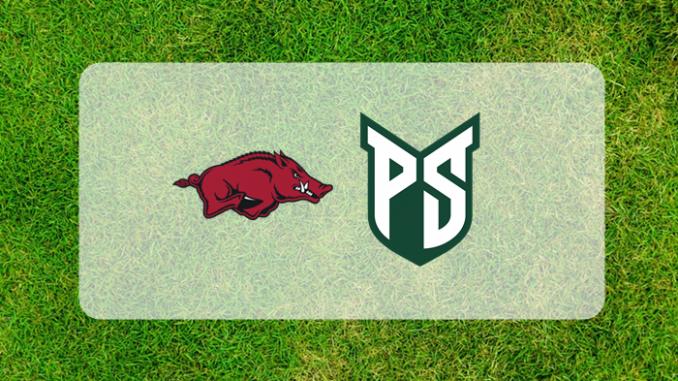 Arkansas and Portland State logos on grass