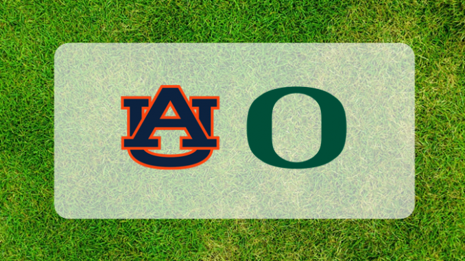 Auburn Oregon logos on grass