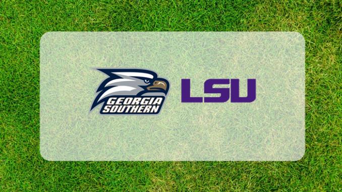 LSU Georgia Southern logos on grass