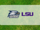 LSU Georgia Southern logos on grass