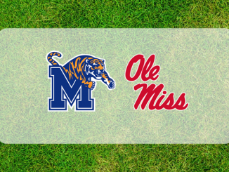 Ole Miss-Memphis logos on grass