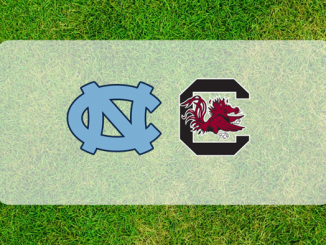 South Carolina North Carolina logos on field of grass