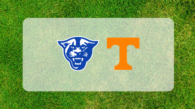 Georgia State and Tennessee logos on grass field