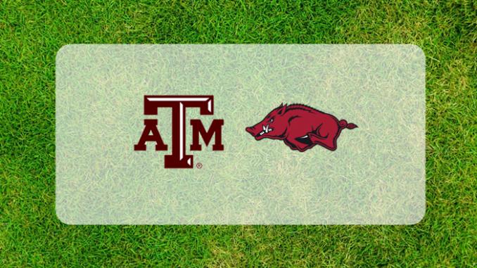 Texas A&M and Arkansas logos
