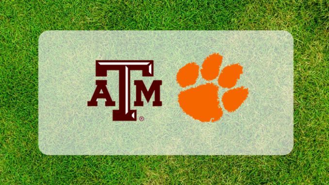 Texas A&M and Clemson logos