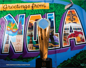 CFP Trophy with NOLO backdrop