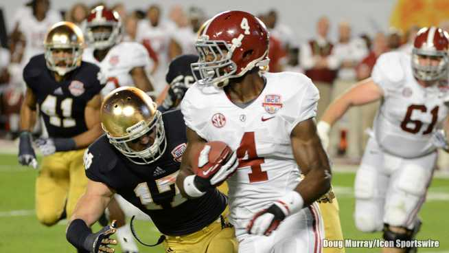 January 7 2013: Alabama (4) T.J. Yeldon during the Alabama Crimson Tide versus Notre Dame Fighting Irish in the Discover BCS National Championship Game at Sun Life Stadium in Miami Gardens, Florida.