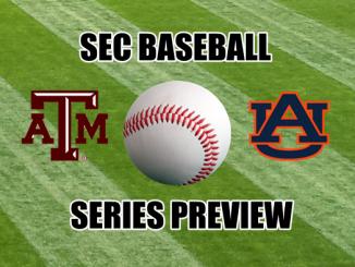 Texas A&M and Auburn logos with baseball