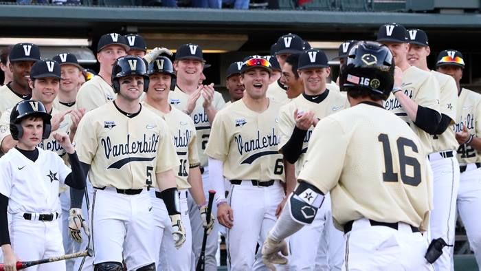 Vanderbilt baseball players celebrate a win