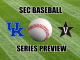 Kentucky and Vanderbilt logos with baseball