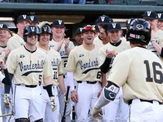 Vanderbilt baseball players celebrate a win