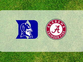 Alabama and Duke logos on grass field