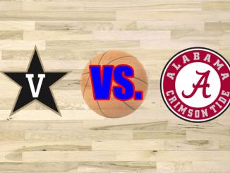 Vanderbilt and Alabama logos on wood floor